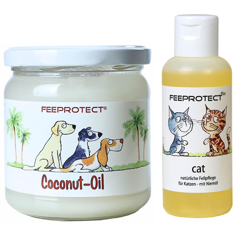 Kombipack: Feeprotect ® Coconut oil und cat plus Fellpflege