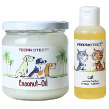 Kombipack: Feeprotect &reg Coconut-Oil und cat plus Fellpflege